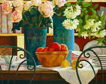 """Oil Painting, Flowers and Fruit Still Life,Original,Vase of Flowers, Roses, Photo Realism, Original, Large, 24 x 24"""""""