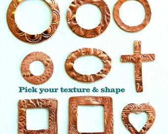 Qty 4 Copper Washer Blanks with Asst Texture Option - for Patina or enameling - Free Shipping USA