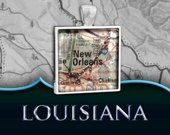 New Orleans, LA Map Pendant