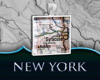 Syracuse, NY Map Pendant