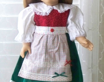 Handmade Doll Clothes Christmas Doll Dress Fits 18 inch doll