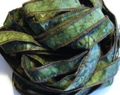 Sherwood Forest  - Hand Painted Artist Dyed Silk Batik Ribbon Strings - OOAK  - FireandFibers Beads