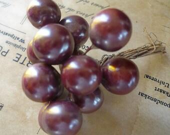 Vintage Millinery German Burgundy Berry Cluster