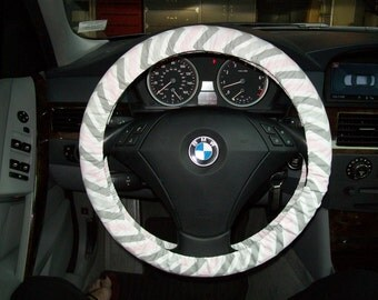 Grey and Pink Chevron Steering Wheel Cover