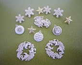 Dress it Up Buttons -Heavenly Holidays - Off White & Gold - Wreaths - Angels - Snowflakes