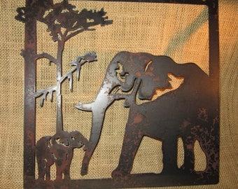 Pair of Elephants-metal art-safari art-home decor