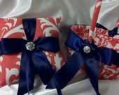 CORAL DAMASK RINGBEARER Pillow or Flower Girl Basket Osb Coral Wedding bridal ring bearer navy blue or your choice ribbon color