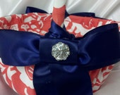 DAMASK FLOWER GIRL Basket  Coral and white damask with navy ribbon or  Your choice of ribbon color