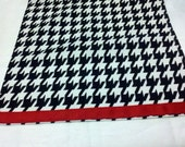 HOUNDSTOOTH TABLE LINENS red band- Houndstooth Table Runners, or Napkins, or Placemats,  Black and white  Alabama Runners Napkins