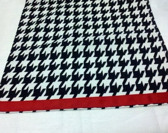 HOUNDSTOOTH TABLE LINENS- with red band- Houndstooth Table Runners, or Napkins, or Placemats,  Black and white,  Alabama,  Runners, Napkins