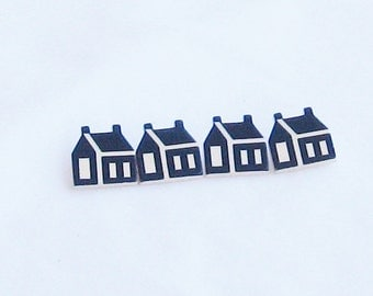 buttons, wood, black with white, little houses, 4 pieces, C, destash