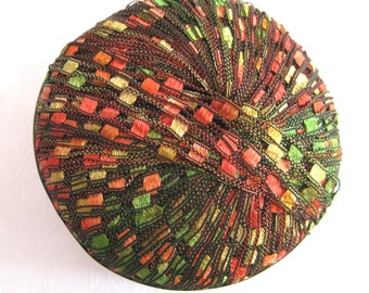 Berlini Ladder Ribbon Yarn,  AUTUMN LEAVES, red green gold orange shades, trellis yarn, 40