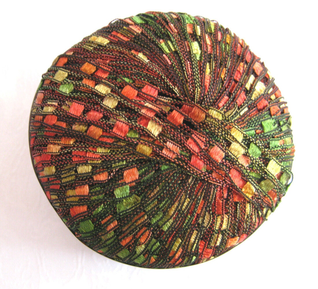 Ribbon Yarn : Berlini Ladder Ribbon Yarn AUTUMN LEAVES red green by crochetgal