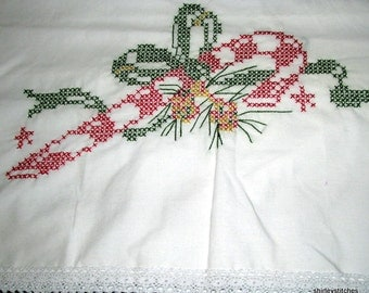 HAND EMBROIDERY--Christmas Candy Cane Pillow Cases