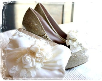 Evangelina, a romantic clutch done in ivory satin and chiffon