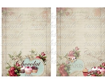 INSTANT DOWNLOAD - 5 sheets of paper - Sweet Treats Paper Pack-  U Print Digital Download Collage Sheet