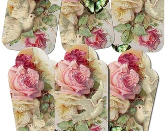 INSTANT DOWNLOAD - Roses and Doves - Hang Tags -   Digital Download - Printable  Digital Collage Sheet