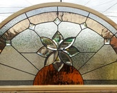 "Stained glass Arched Window - ""Beveled Flower"" (W-63)"