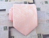 Mens Tie Peach Tie Light Peach Paisley Mens Necktie With Matching Pocket Square Option