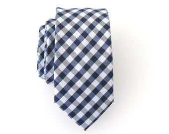 Necktie Blue and White Checkers Skinny Mens Tie