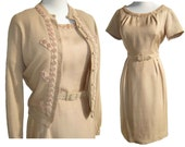 Vintage 60s Dress & Sweater Set Cashmere Cardigan Silk Shantung Taupe Beige M / L
