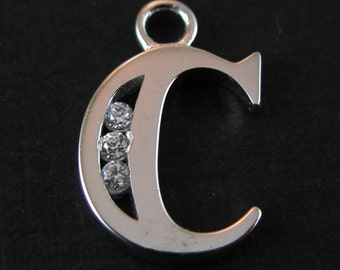 925 Sterling Silver Charm - Initial , Letter C Charm  with CZ stone - SKU: 201054-C
