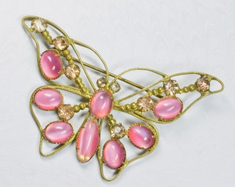 REDUCED Art Deco Butterfly Brooch /Pin Pink Glass Cabochons & Rhinestones, 1920s,Spring /Summer Jewelry,Mothers Day FREE UK Postage