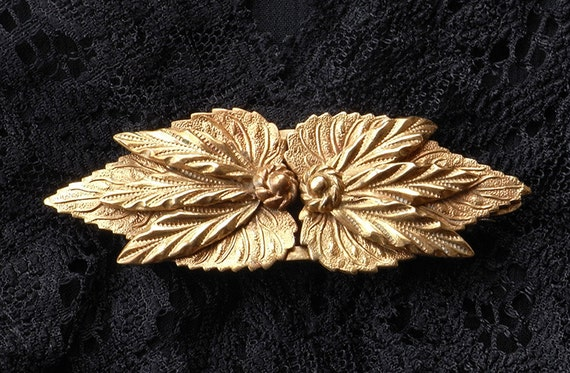 Vintage Art Deco Leaf Dress Clips or Leaf Brooch -Three in One, DuetteType