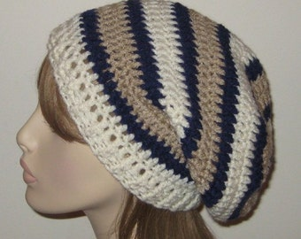 Slouchy Beanie Crochet Hat Dread Tam in Navy, Off White and Linen