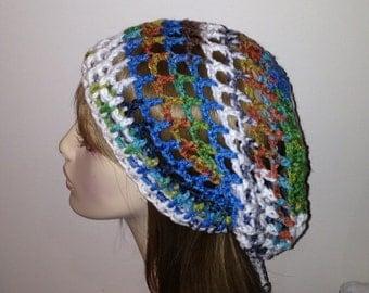 Peruvian Print Slouchy Beanie Mesh Dread Snood Tam Crochet Hat