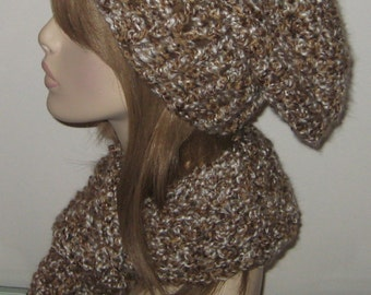 Homespun Hat and Scarf Set in Sand Dune