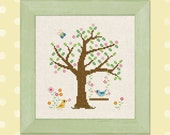 Lazy Sunday. Birds, Tree, Swing, Summer Cross Stitch Pattern PDF File