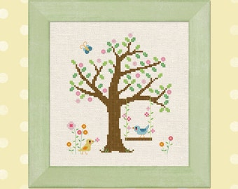 Lazy Sunday. Birds, Tree, Swing, Summer Modern Simple Cute Counted Cross Stitch Pattern PDF File. Instant Download