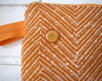 Creamsicle Chevron Zipper Pouch