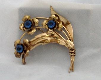 beautiful sterling with vermeil wash flower brooch