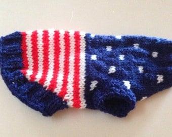 XS USA Flag Dog Sweater Chihuahua Hand Knit Made in Idaho Small Dog Sweater