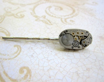 Steampunk Bobby Pin, Hair Clip, Hair Pin, Recycled Clockworks, Upcycled, Elgin Watch Part, Women's Steampunk, Women's Accessories