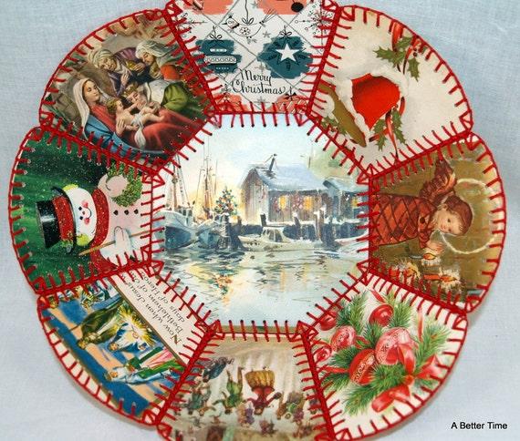 Vintage Folk Art Crafts Christmas Card Bowl C1960
