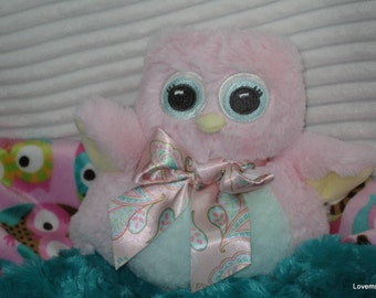 Security Blanket, baby blanket, luvi, lovie - pink owl lovems