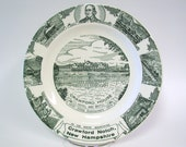 Vintage 1959 Crawford House Crawford Notch, NH souvenir plate green transferware