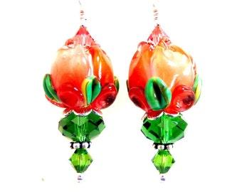 Orange Tulip Earrings, Tulip Drop Dangle, Peach Flower Earrings, Floral Glass Beaded Lampwork Earrings, Easter Gift for Her, Mothers Day