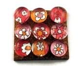 Decorative Glass Push Pins  Thumb Tacks Cork Board Pins in Fruit Punch (P24)