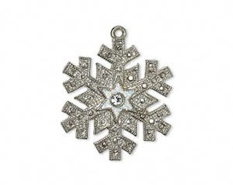 Snowflake Charm, Silver-finished with glitter and a Swarovski clear crystal center.