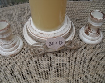 Shabby Chic Wood Wedding Personalized Unity Candle Holder Set - You Pick Color - Item 1565