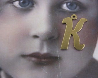 Natural Raw Brass Small  Fancy Script Charms Letter K 2012RAW x1