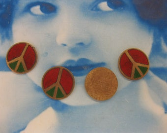 Vintage Enamel And Copper Peace Sign Cabochons 882VIN x4