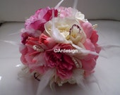 POSH PRINCESS Wedding Bouquet  Feathers And Pearl Accents