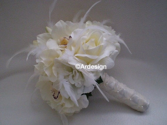 FRENCH VANILLA Wedding Bouquet With Feather Accents