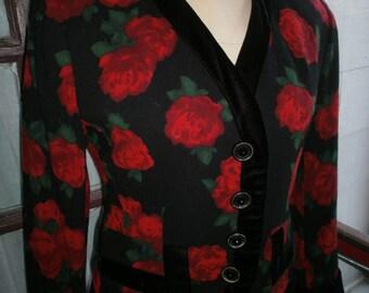 80s Carlisle Designer Rose Print Jacket