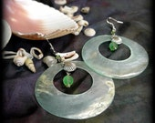 green shell and charm earrings